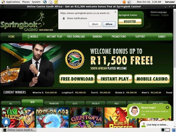 Springbok Use Paypal