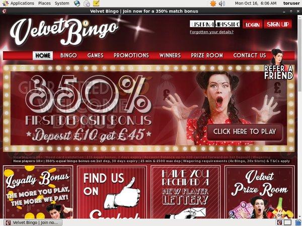 Velvet Bingo Welcome Bonus Offer