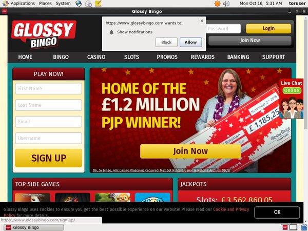 Glossy Bingo Refer A Friend Bonus